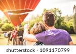 happy couple in love on... | Shutterstock . vector #1091170799