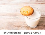 cookies and a glass of milk on ...   Shutterstock . vector #1091172914