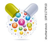 medical vitamin  mineral... | Shutterstock .eps vector #1091173910