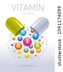 medical vitamin  mineral... | Shutterstock .eps vector #1091174099
