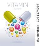 medical vitamin  mineral... | Shutterstock .eps vector #1091174099