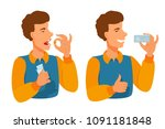 a man shows a gesture with his... | Shutterstock .eps vector #1091181848