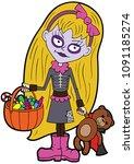 illustration cartoon girl... | Shutterstock .eps vector #1091185274