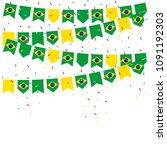 brazil celebration bunting... | Shutterstock .eps vector #1091192303