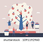 reaping the harvest   flat... | Shutterstock .eps vector #1091192960