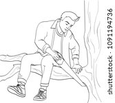 man sawing tree branch on which ... | Shutterstock .eps vector #1091194736