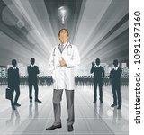 vector doctor man with... | Shutterstock .eps vector #1091197160