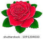 red rose with leaves. | Shutterstock .eps vector #1091204033