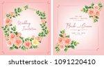 wedding invitation  floral... | Shutterstock .eps vector #1091220410