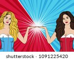 blonde and brunette on red blue ... | Shutterstock .eps vector #1091225420