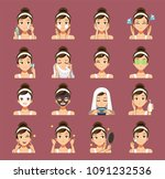 process of cleansing the face.... | Shutterstock .eps vector #1091232536