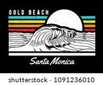 santa monica beach text with... | Shutterstock .eps vector #1091236010