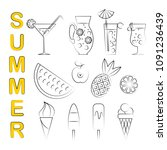set of 12 summer icons with... | Shutterstock .eps vector #1091236439