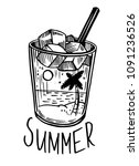 summer print with cocktail  ice ...   Shutterstock .eps vector #1091236526