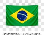 hanging flag of brazil.... | Shutterstock .eps vector #1091242046