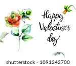 narcissus and roses flowers... | Shutterstock . vector #1091242700