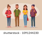 happy students with books and... | Shutterstock .eps vector #1091244230