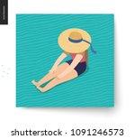 picnic image   flat cartoon... | Shutterstock .eps vector #1091246573