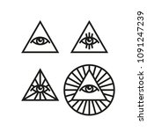 set of all seeing eye icons.... | Shutterstock .eps vector #1091247239