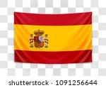 hanging flag of spain. kingdom... | Shutterstock .eps vector #1091256644