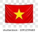 hanging flag of vietnam.... | Shutterstock .eps vector #1091259683