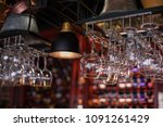 clean washed glasses hanging...   Shutterstock . vector #1091261429