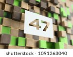 white papercut number 47 on the ... | Shutterstock . vector #1091263040