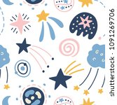 outer space childish seamless... | Shutterstock .eps vector #1091269706