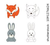 coloring page with animal. wild ... | Shutterstock .eps vector #1091276624