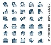 set of real estate icons.... | Shutterstock .eps vector #1091283380