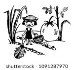 drawing of a tiny fairy girl...   Shutterstock .eps vector #1091287970