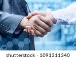 handshake of a businessman and... | Shutterstock . vector #1091311340
