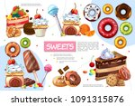 flat sweet products infographic ... | Shutterstock .eps vector #1091315876