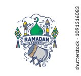 eid mubarak celebration  mosque.... | Shutterstock .eps vector #1091316083