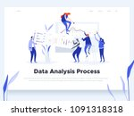 People build a dashboard and interact with graphs. Data analysis, and office situations. Landing page template. Vector illustration | Shutterstock vector #1091318318