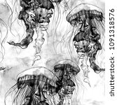 hand drawn jellyfish texture.... | Shutterstock . vector #1091318576