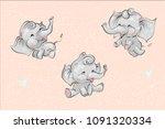 set of cute childish cartoon... | Shutterstock .eps vector #1091320334