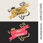 set of wedding logos. gold and... | Shutterstock .eps vector #1091327690