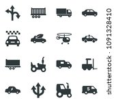 black vector icon set tractor... | Shutterstock .eps vector #1091328410