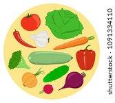 set of vegetables. cabbage ... | Shutterstock .eps vector #1091334110