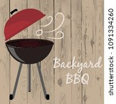 bbq backyard party on wooden... | Shutterstock .eps vector #1091334260