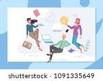 creative office coworking... | Shutterstock .eps vector #1091335649