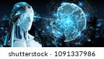 white robot on blurred... | Shutterstock . vector #1091337986