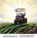 farmer on the tractor  waving... | Shutterstock .eps vector #1091338529
