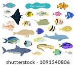 set of cartoon sea animals on... | Shutterstock .eps vector #1091340806