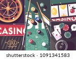 gambling game casino abstract... | Shutterstock .eps vector #1091341583