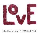 dark red smear of matte lip... | Shutterstock . vector #1091341784