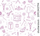 seamless pattern with tools and ...   Shutterstock .eps vector #1091343794