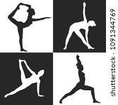 vector yoga silhouette black... | Shutterstock .eps vector #1091344769