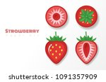 set of strawberries in paper... | Shutterstock .eps vector #1091357909